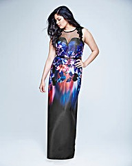 Little Mistress Mesh Print Maxi Dress