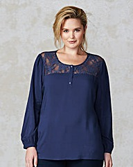 Junarose Lace Yoke Long Sleeve Blouse