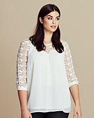 Junarose Lace-Sleeve Blouse