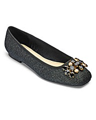 Sole Diva Jewelled Ballerinas EEE Fit