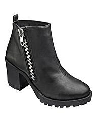 London Rebel Zip Ankle Boots D Fit