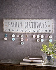 Wall Mounted Family Birthdays Chart
