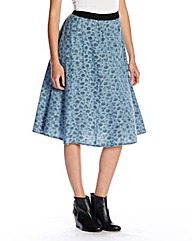 Denim Floral Midi Skirt