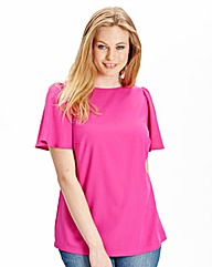 Crepe Fluted Sleeve Shell Top