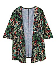 Jersey Black Floral Print Cover Up