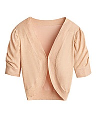 Short Sleeve Cardigan Shrug-Peach