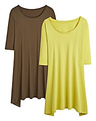Pack 2 Shaped Hem Swing Top