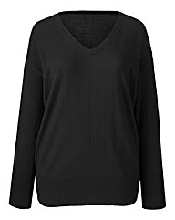 Black Basic V Neck Sweater
