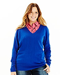 Cobalt Basic V Neck Jumper