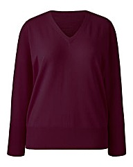 Cranberry Basic V Neck Jumper
