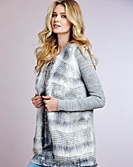 Textured Cardigan with Fur Front