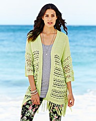 Open Knit Fringe Cardigan