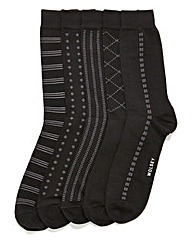 Wolsey 5 Pack Black Patterned Socks