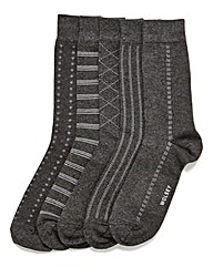 Wolsey 5 Pack Charcoal Patterned Socks