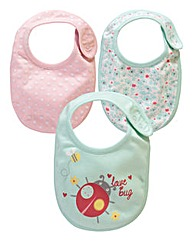 KD BABY Girls Pack of 3 Bibs