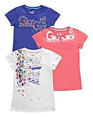 Gio Goi Girls Pack 3 T-Shirts (8-13+yrs)