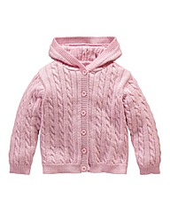KD BABY Girls Cable Hooded Cardigan