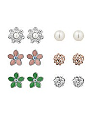 Mood Floral and Stud Earrings Set