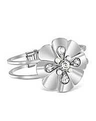 Mood Pearl Crystal Metal Flower Bangle