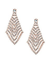 Mood Rose Gold Diamante Drop Earring
