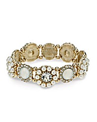 Mood Pearl Flower Disc Stretch Bracelet