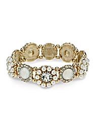 Mood Pearl Flower Disc Stretch Bracelet