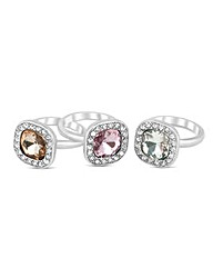 Mood Square Crystal Stacker Ring Set