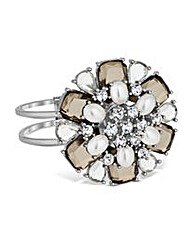 Mood Pearl and Crystal Flower Bangle