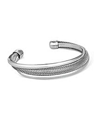 Mood Polished Silver and Mesh Twist Cuff