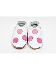 Hippychick Baby Shoes White/Rose Spots