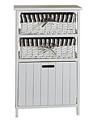 White Split Wood Storage Box Drawer Unit
