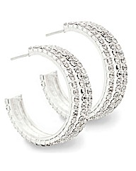 Mood Diamante Triple Row Hoop Earring