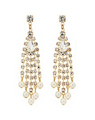 Mood Diamante And Pearl Drop Earring