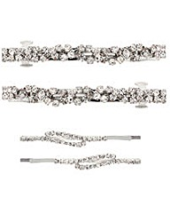 Mood Diamante Twist Barrette Slide Pack