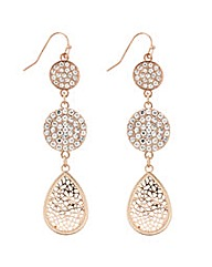 Mood Rose Gold Disc Drop Earring