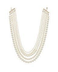 Mood Five Row Graduating Pearl Necklace