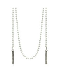 Mood Long Pearl And Tassle Loop Necklace