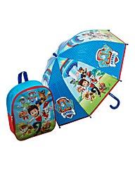 Paw Patrol Junior Backpack & Umbrella