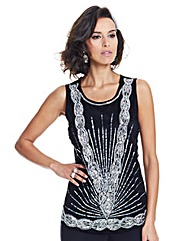 Joanna Hope Sequin Mesh Top