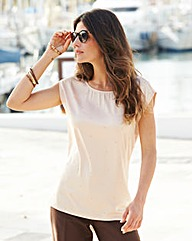 JOANNA HOPE Jersey Back Embellished Top