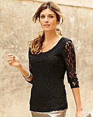JOANNA HOPE Applique Trim Lace Top