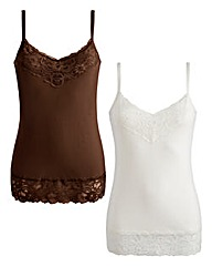 JOANNA HOPE Lace Trim Jersey Vests