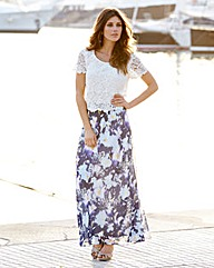 JOANNA HOPE Lace Top Print Maxi Dress