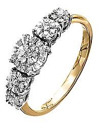 9 Carat Gold 1/4 Carat Diamond Ring