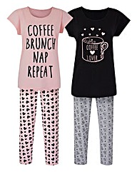 Pretty Secrets Pack of 2 Pyjamas 28in