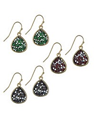 Mood Crushed stone peardrop earring set