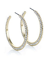Mood Gold crystal pave hoop earring