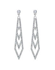 Mood Silver crystal ladder drop earring