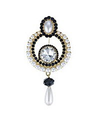 Mood Crystal and pearl droplet brooch