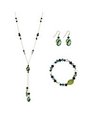 Mood Metallic green beaded jewellery set